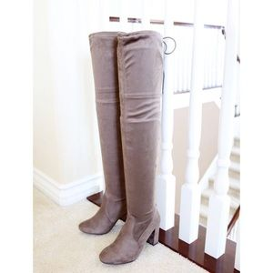 snivy smoke taupe stretch over the knee boots